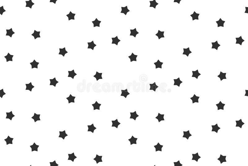 Do preto sem emenda do teste padrão das estrelas fundo abstrato branco ilustração stock