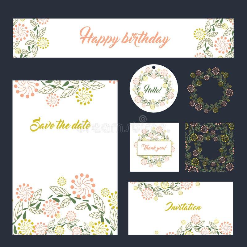 Do projeto ajustado dos artigos de papelaria do casamento cartões ajustados dos moldes ilustração do vetor