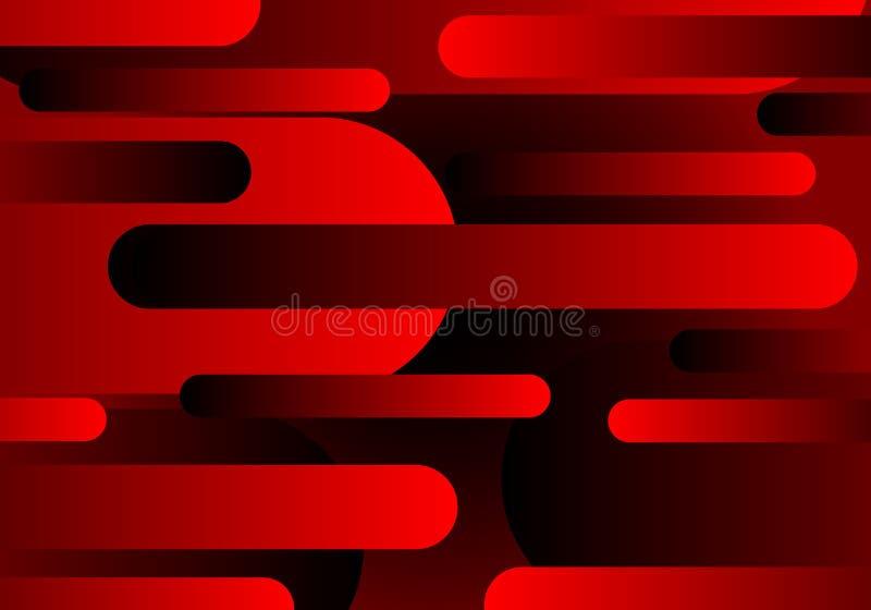 Do projeto dinâmico geométrico preto vermelho do teste padrão da composição das formas do sumário vetor futurista moderno do fund ilustração stock