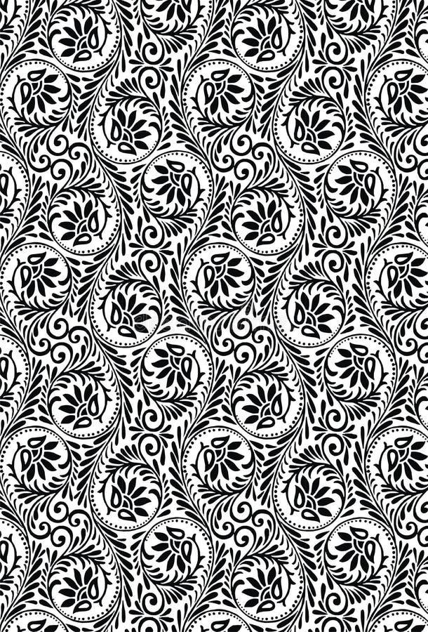 Do projeto indiano da arte do teste padrão do ornamento de matéria têxtil teste padrão bonito sem emenda de Paisley ilustração do vetor