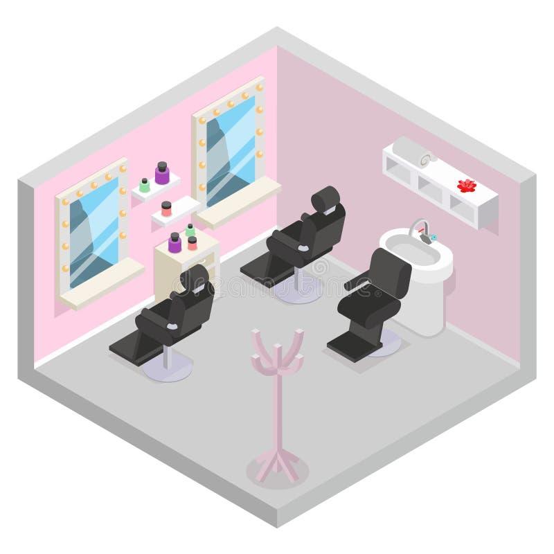 Do projeto isométrico do equipamento da barbearia da sala do salão de beleza da lavagem do cabelo do barbeiro ilustração lisa do  ilustração stock