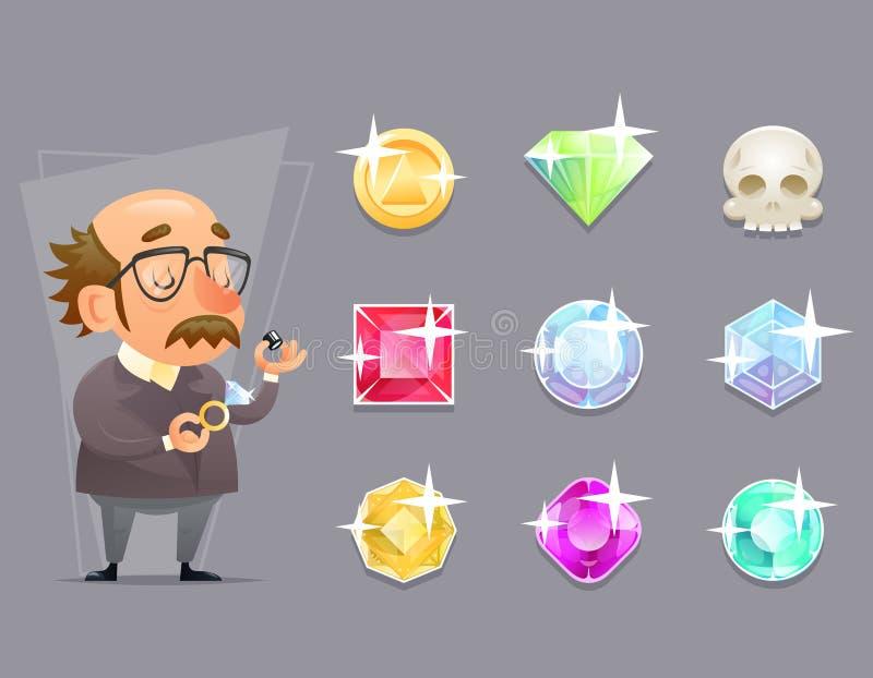 Do projeto retro ajustado dos desenhos animados do ícone do processo da verificação de Valuer Appraiser Quality do joalheiro ilus ilustração stock