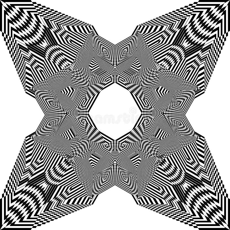 Do quadrado pseudo- da arquitetura da cidade do tridimensional do Arabesque ilusão aérea da perspectiva no fundo transparente 3 ilustração do vetor