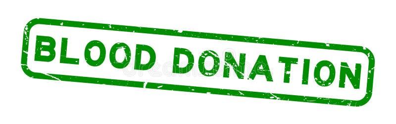 Do quadrado verde da doação de sangue do Grunge selo de borracha do selo no fundo branco ilustração royalty free