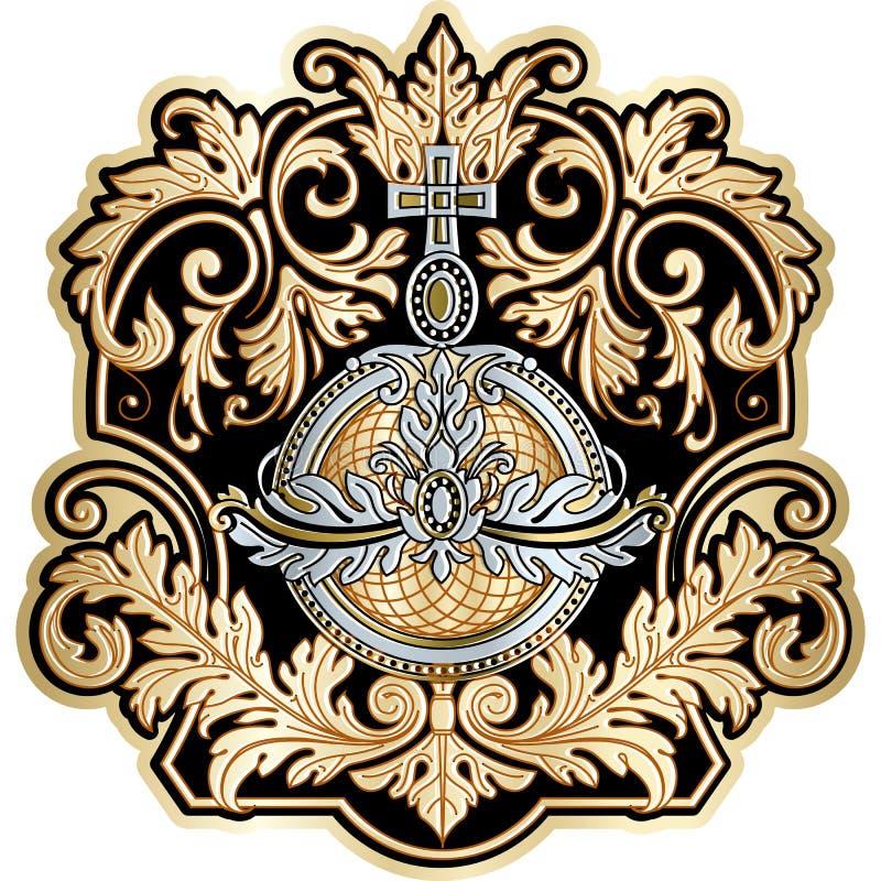 Do quadro barroco do projeto do rolo do vintage deco floral ricamente decorado ilustração stock