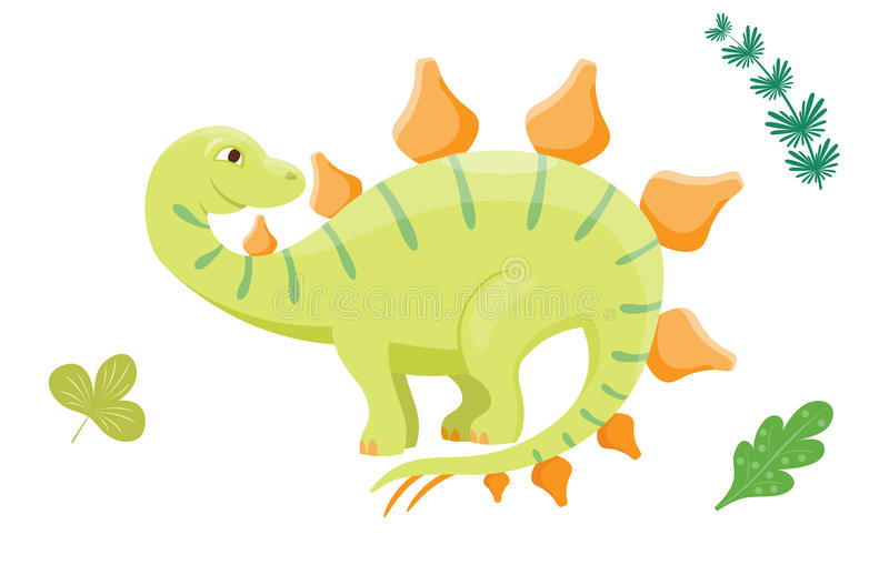 Do réptil pré-histórico animal do caráter de Dino do monstro da ilustração do vetor do dinossauro dos desenhos animados folha jur ilustração do vetor