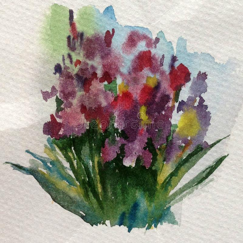 Do ramalhete floral abstrato das flores do fundo da aquarela papel de parede bonito textured borrado brilhante da mancha do exces ilustração do vetor