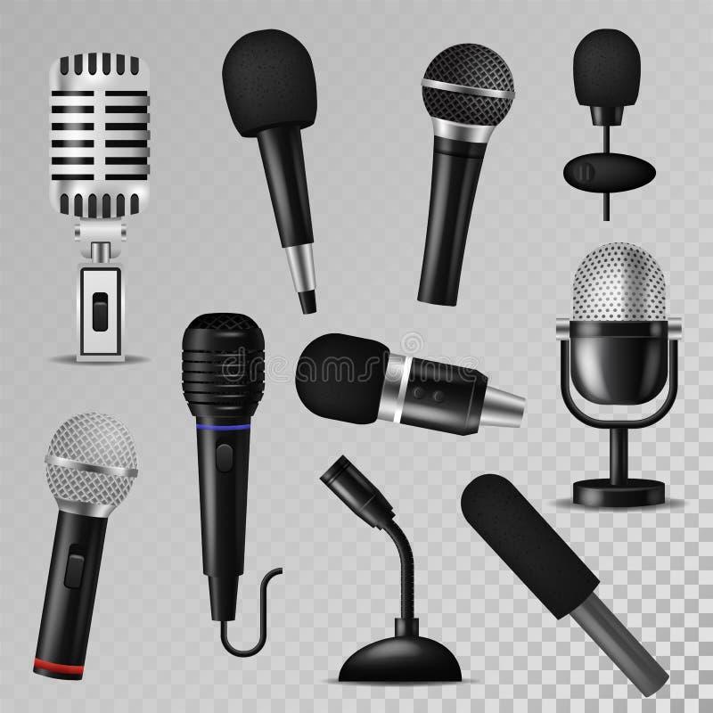 Do registro audio do rádio do estúdio do karaoke do registrador do mic da voz da música do som do vetor do microfone vintage foné ilustração royalty free