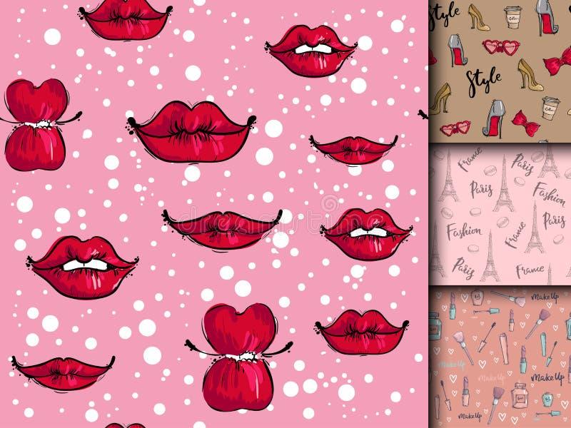 Do rosa brilhante sem emenda das cores do teste padrão dos acessórios dos cosméticos da forma motriz formado à moda do vintage il ilustração stock