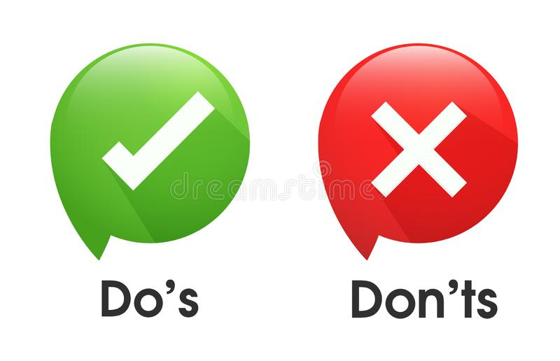 Do`s and Don`ts symbols accept rejected for evaluation. Vector Simple and modern style stock illustration