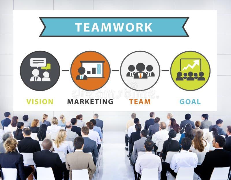 Do seminário da conferência da conexão executivos do conceito dos trabalhos de equipa ilustração do vetor