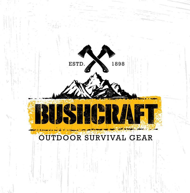 Do sinal criativo da motivação de Bushcraft da caminhada da montanha da aventura conceito ajustado Projeto exterior do vetor do e ilustração stock
