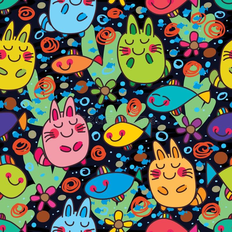 Do sonho feliz dos peixes do gato teste padrão sem emenda colorido ilustração stock