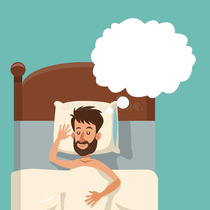 Do sono farpado do homem dos desenhos animados cama descamisado ideal ilustração royalty free