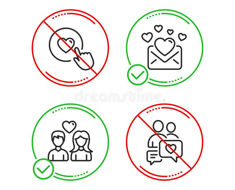 Couple love, Love mail and Like button icons set. Dating chat sign. Valentines letter. Love set. Vector royalty free illustration