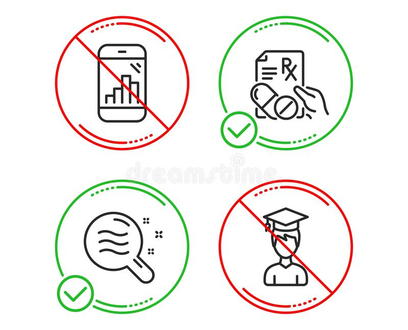 Graph phone, Prescription drugs and Skin condition icons set. Student sign. Vector royalty free stock images