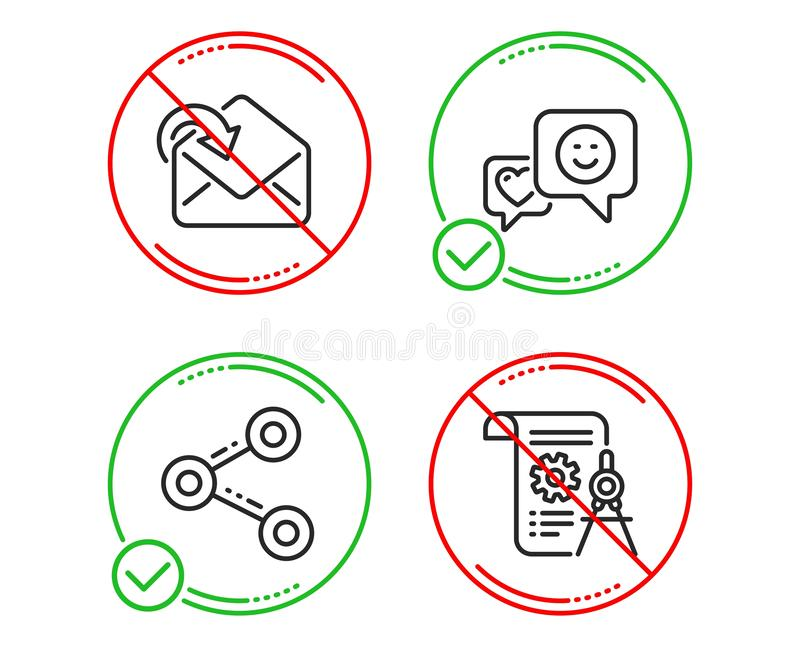 Smile, Share and Receive mail icons set. Divider document sign. Socila media, Follow network, Incoming message. Vector vector illustration