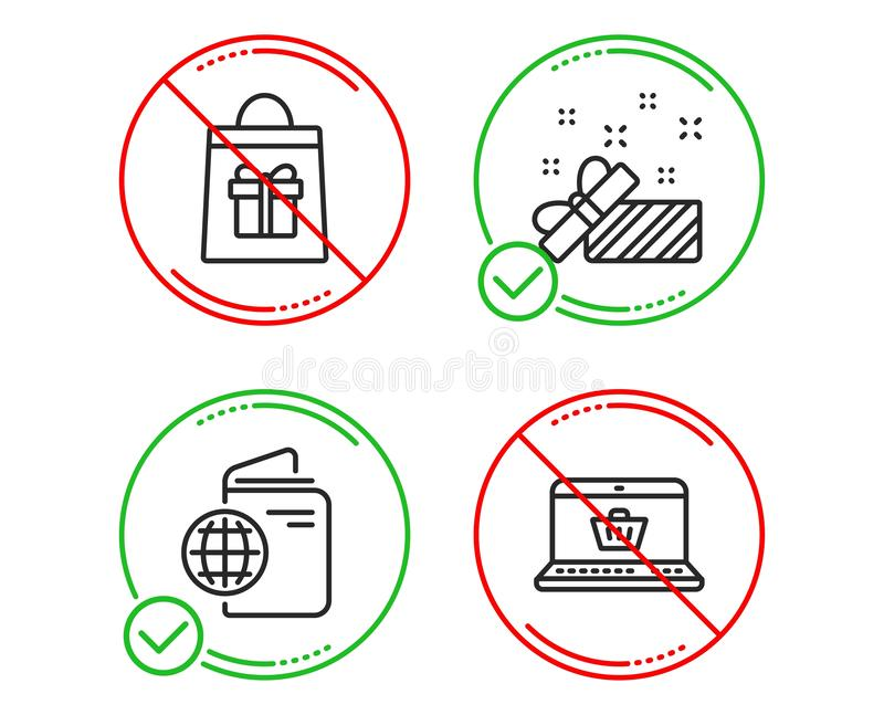 Travel passport, Holidays shopping and Present icons set. Online shopping sign. Trip document, Gifts bag, Gift. Vector. Do or Stop. Travel passport, Holidays stock illustration