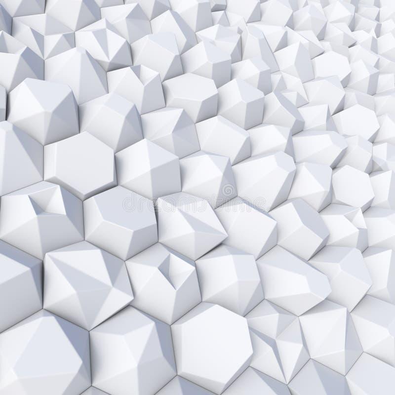 Do sumário contexto branco dos hexágonos aleatoriamente ilustração do vetor