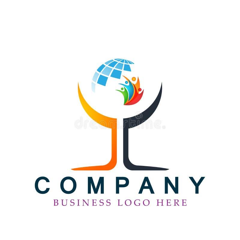 Do sumário do globo dos povos do bem-estar ilustrações coloridas do vetor do conceito do elemento do ícone do logotipo junto no f ilustração do vetor