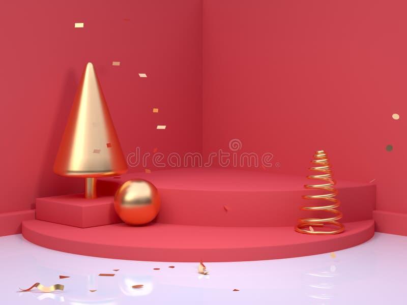 Do sumário vermelho do canto do assoalho da parede da cena da árvore do cone do ouro rendição mínima do conceito 3d do ano novo d ilustração do vetor