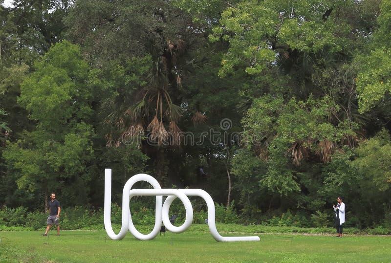Do Sun ao ¼ de ZÃ rico, o trabalho de Carol Bove, exibido em Laguna Gloria Sculpture Garden, Austin, Texas imagens de stock royalty free