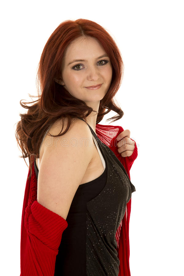 Do suporte vermelho do cabelo da mulher lado vermelho do olhar da camiseta fotos de stock