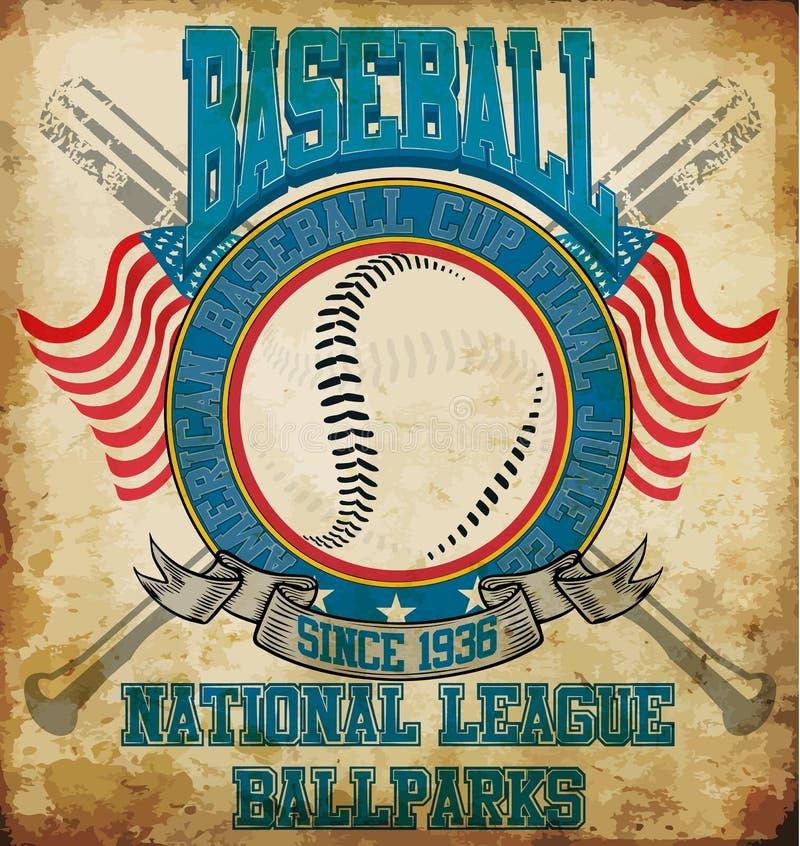 Do T americano dos esportes do basebol projeto gráfico ilustração do vetor