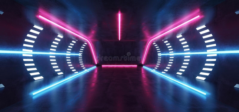 Do t?nel azul roxo do Cyber da realidade virtual de Sci Fi sala concreta de incandesc?ncia futurista de n?on vibrante fluorescent ilustração stock