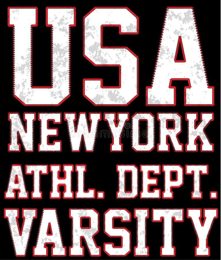 Do t-shirt criativo do grunge do esporte do time do colégio de New York projeto gráfico ilustração stock