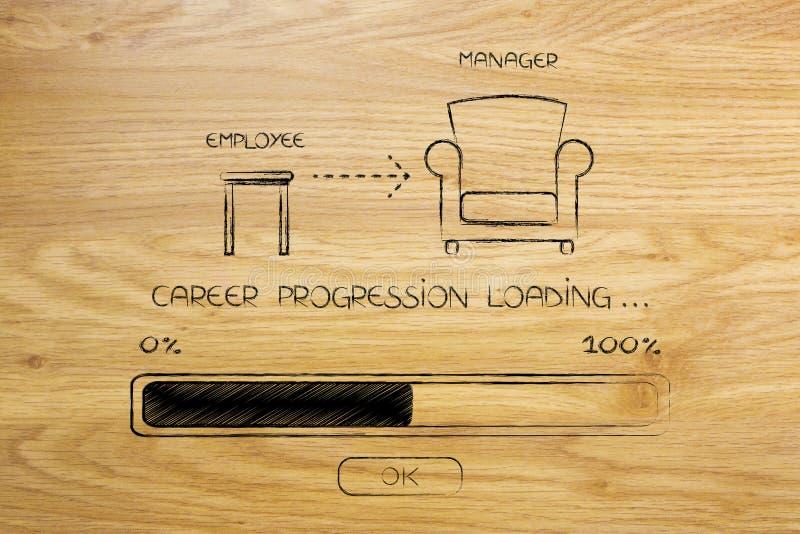 Do tamborete do empregado à cadeira do gerente com carga da barra do progresso ilustração do vetor