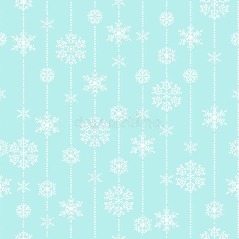 Do tempo sem emenda do teste padrão do vetor do floco de neve fundo tradicional do Natal do papel de envolvimento de dezembro do  ilustração stock