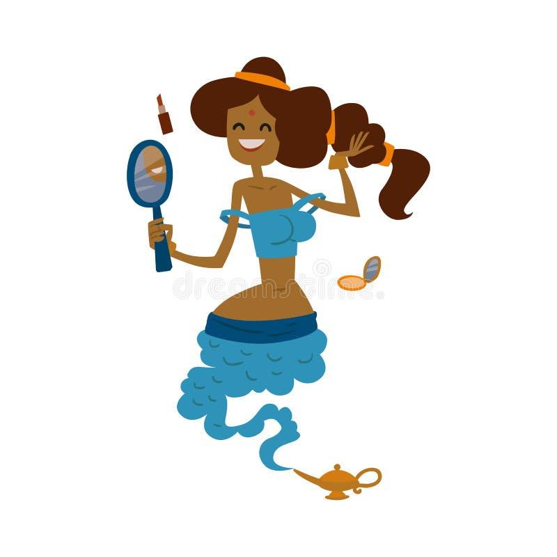 Do tesouro liso mágico bonito da ilustração do vetor da lâmpada do personagem de banda desenhada da princesa do gênio dos gênios  ilustração stock