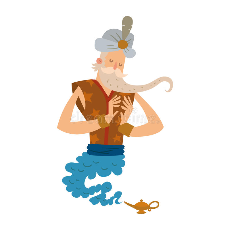 Do tesouro liso mágico da ilustração do vetor da lâmpada do caráter dos gênios dos desenhos animados gênio árabe do milagre do al ilustração stock