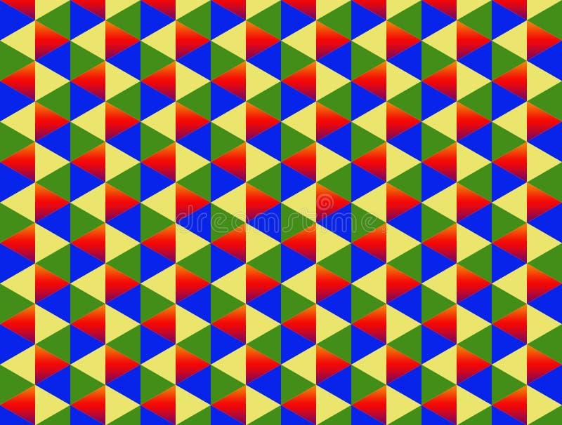 Do teste padrão azul vermelho de duas cores do fundo do triângulo do verde amarelo do diamante infinito colorido ilustração stock