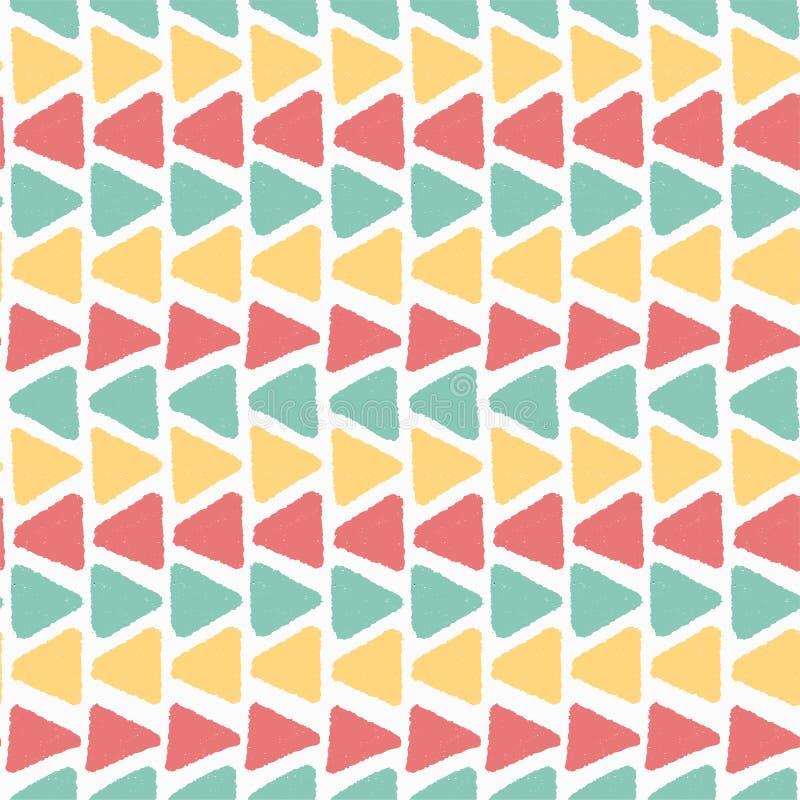 Do teste padrão geométrico colorido do triângulo do grunge do vintage do verão do horizonte fundo sem emenda ilustração royalty free