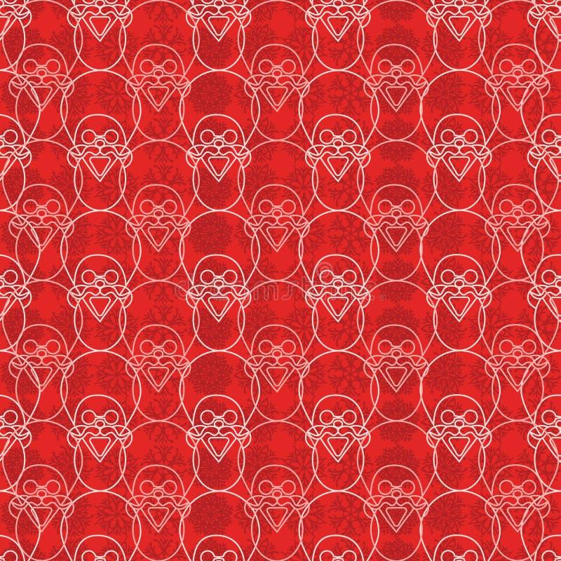 Do teste padrão geométrico do Natal do vetor do sumário a cópia sem emenda com Santa Claus enfrenta e fundo do floco de neve Para ilustração do vetor