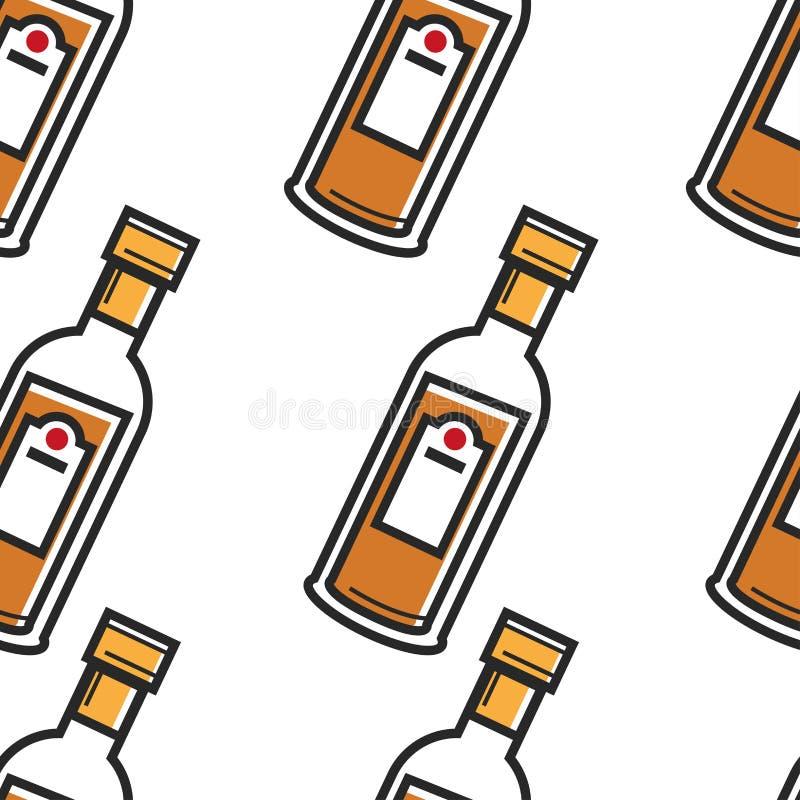 Do teste padrão sem emenda cubano da bebida do rum bebida forte do álcool ilustração do vetor