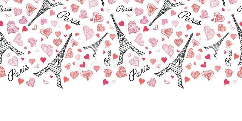 Do teste padrão sem emenda da repetição de Paris da torre de Eifel do vetor beira horizontal que estoura com corações vermelhos d ilustração do vetor