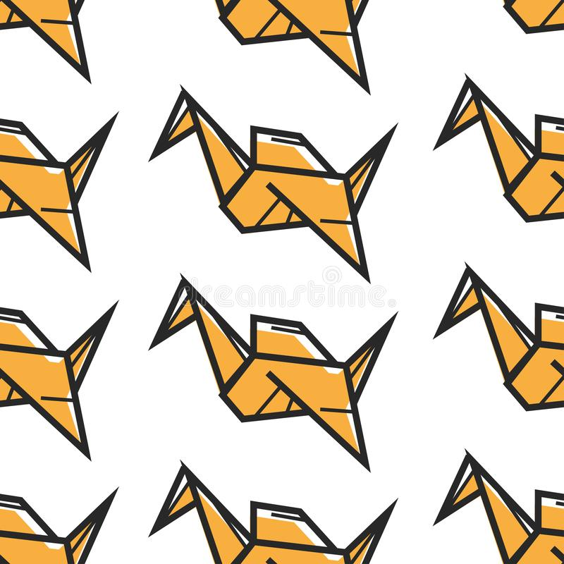 Do teste padrão sem emenda oriental da arte do origâmi arte finala feito a mão de papel ilustração stock