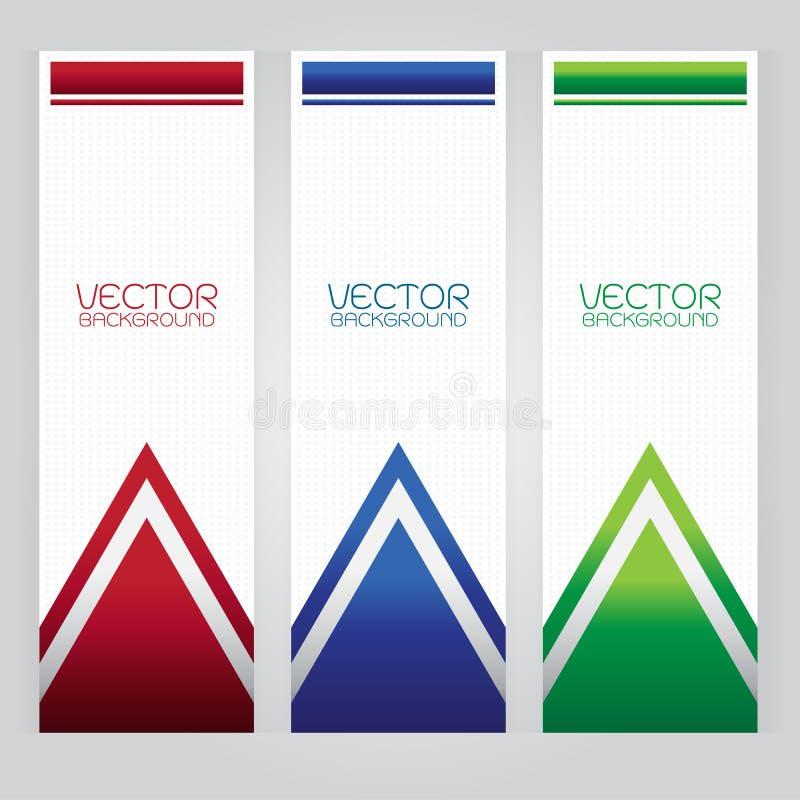 Do triângulo ajustado do sumário do fundo do vetor botão vermelho do verde azul no fundo cinzento ilustração stock