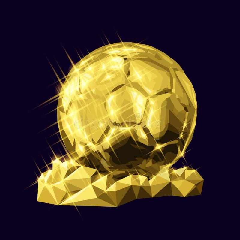 do triângulo geométrico dourado do futebol do futebol da ilustração do vetor 3d estilo baixo-poli ilustração do vetor