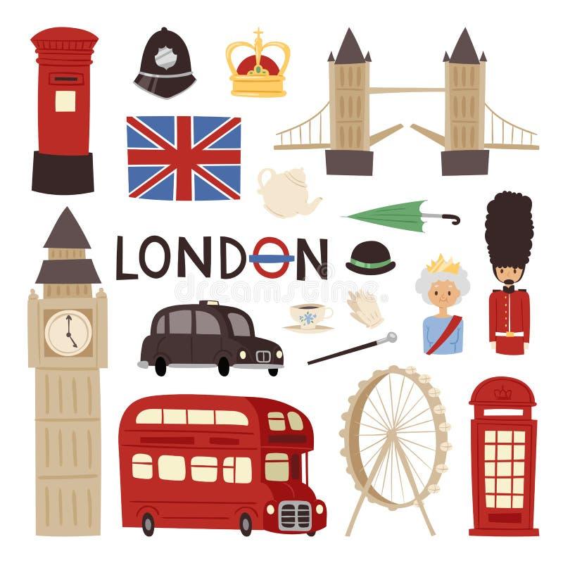Do turismo ajustado de Grâ Bretanha da cultura de Europa da bandeira da cidade do inglês dos ícones do curso de Londres ilustraçã ilustração royalty free
