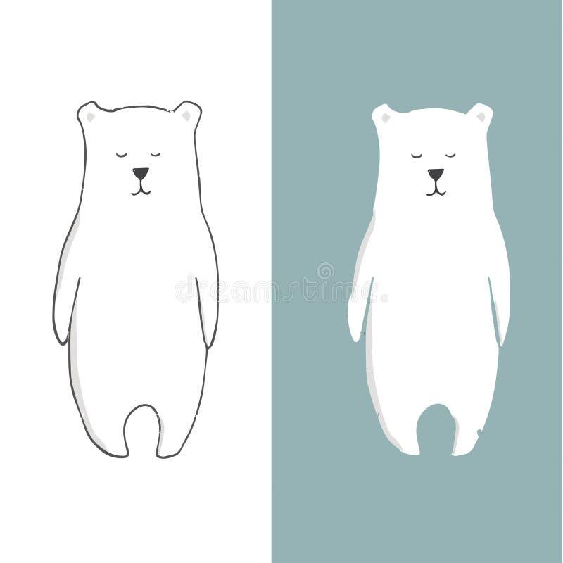 Do urso animal do desenho dos animais selvagens do vetor da neve do urso branco do urso do clipart urso engraçado no fundo branco ilustração do vetor