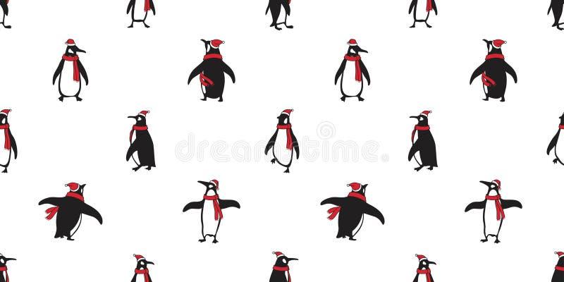 Do urso sem emenda de Santa Claus Hat Xmas do Natal do vetor do teste padrão do pinguim o lenço salmon polar dos desenhos animado ilustração stock