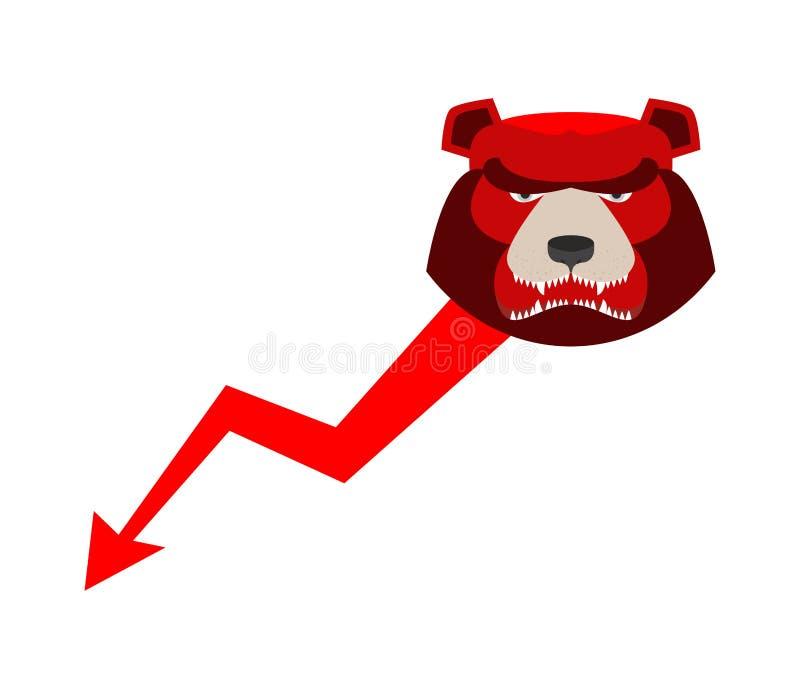 Do urso seta vermelha para baixo Ilustração do comerciante da troca Negócio concentrado ilustração royalty free