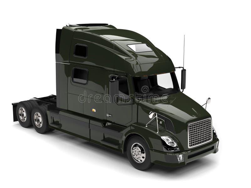 Do verde azeitona caminhão de reboque escuro semi - parte superior abaixo da vista ilustração royalty free