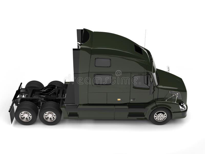 Do verde azeitona caminhão de reboque escuro semi - vista lateral ilustração do vetor