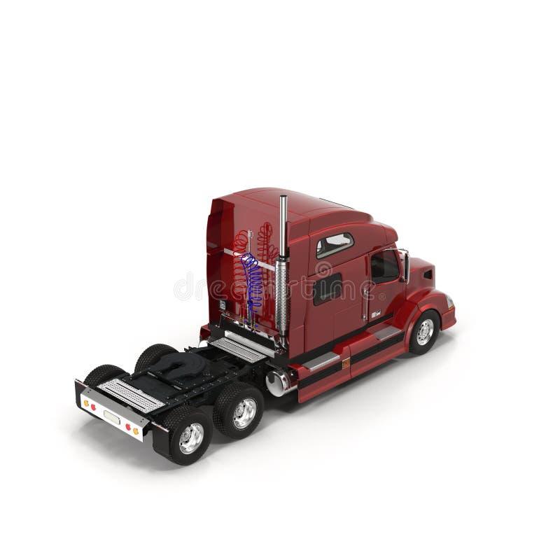 Do vermelho um caminhão grande semi isolado na ilustração 3D branca ilustração stock