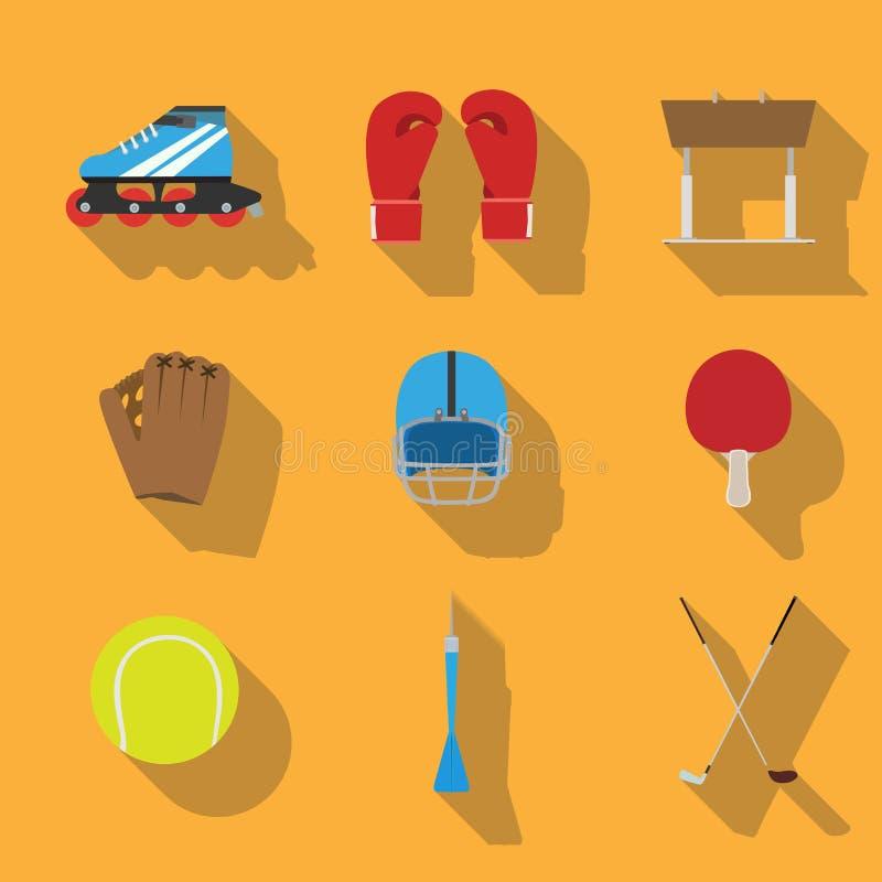 Do vetor ajustado do ícone do eqipment dos esportes conceito liso dos artigos do jogo do projeto da ilustração ilustração royalty free